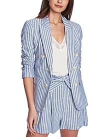 Striped Ruched-Sleeve Blazer