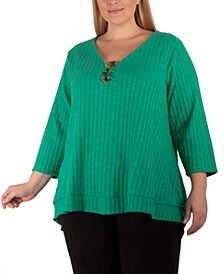 Plus Size Ribbed Embellished Top