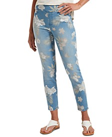 Women's Tropical Orchid Ultra Soft Denim High-Waist Skimmer Leggings