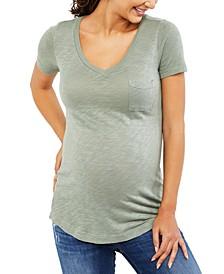 Maternity Cotton V-Neck T-Shirt