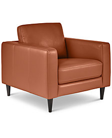 "Jennis 35"" Leather Arm Chair, Created for Macy's"