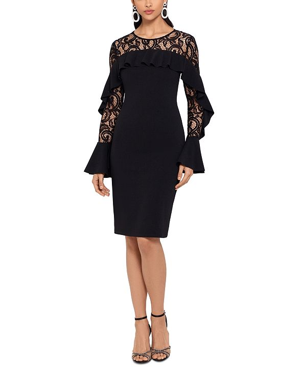 Betsy & Adam Ruffled Lace-Yoke Sheath Dress