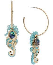 Gold-Tone Stone & Seahorse Charm Convertible Hoop Earrings