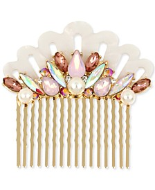 Gold-Tone Crystal & Imitation Pearl Seashell Hair Comb