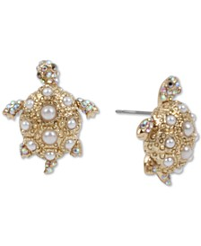 Gold-Tone Pavé & Imitation Pearl Turtle Stud Earrings