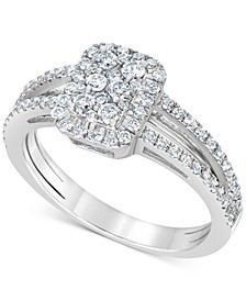 Diamond Rectangle Cluster Engagement Ring (1/2 ct. t.w.) in 14k White Gold