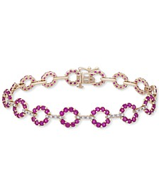 Ruby (5-1/3 ct. t.w.) & Diamond (1/3 ct. t.w.)Circle Link Tennis Bracelet in 14k Gold (Also in Sapphire & Emerald)