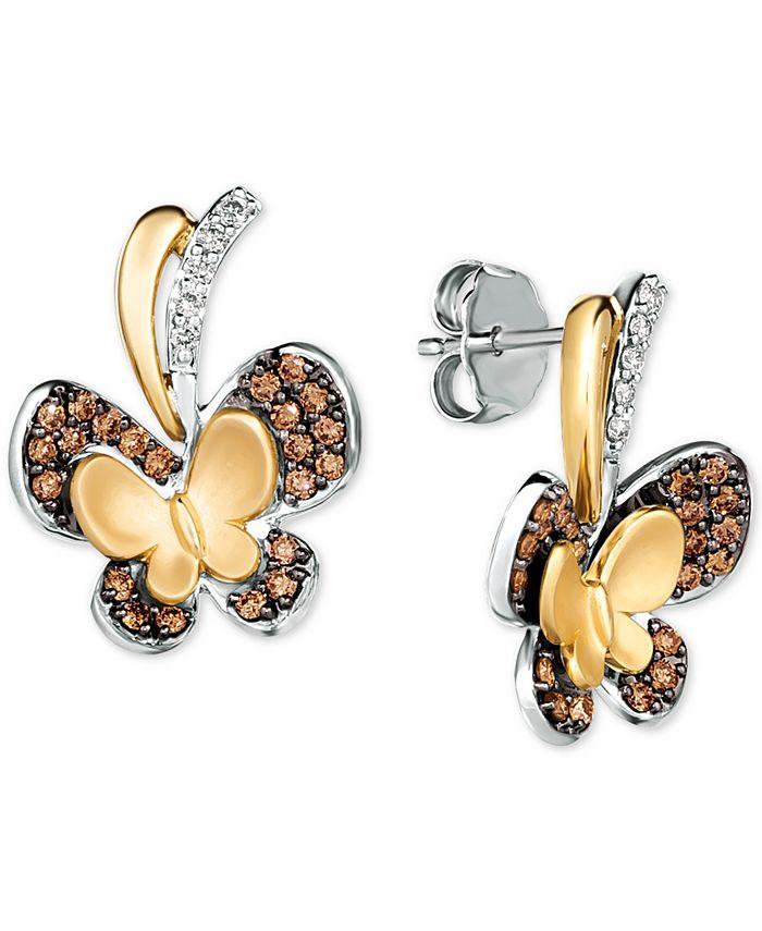 Le Vian - Diamond Butterfly Drop Earrings (3/8 ct. t.w.) in 14k Gold & 14k White Gold