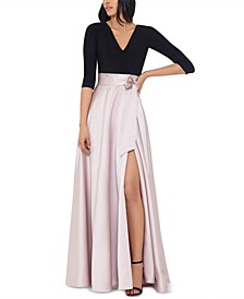 Petite Colorblocked Satin-Skirt Gown
