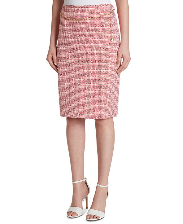 Tahari ASL Chain-Belt Pencil Skirt