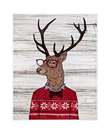 Inc Throw Flannel Printed Ribbed Deer