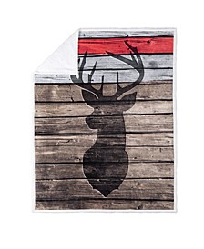 Inc Knit Printed Throws Sherpa Reversible Engraved Deer