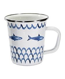 Fish Camp Enamelware Latte Mugs, Set of 4