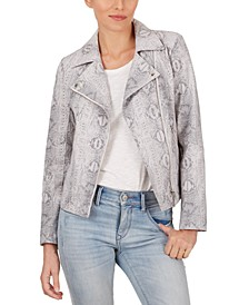Snake-Embossed Moto Jacket