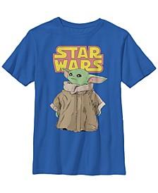 Star Wars The Mandalorian Big Boys The Child Cute Stare Logo Short Sleeve T-shirt