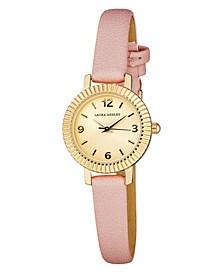 Women's Coin Edge Bezel Pink Polyurethane Strap Watch 26mm