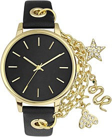 INC Women's Chain & Charm Black Faux Leather Strap Watch 30mm, Created for Macy's