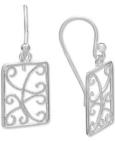 Openwork Beaded Filigree Drop Earrings in Sterling Silver, Created for Macy's