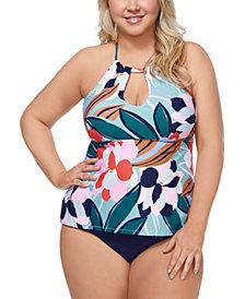 Raisins Curve Trendy Plus Size Juniors' Lucky Day Rosalie Underwire Tankini Top & Solid Costa High-Waist Swim Bottoms