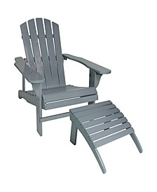 Classic Wooden Adirondack Chair and Ottoman Set