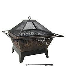 Sunnydaze Decor Northern Galaxy Large Square Wood Burning Outdoor Fire Pit