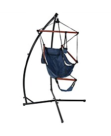 Hanging Hammock Chair with Pillow Drink Holder and X-Stand Set