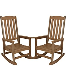 All-Weather Faux Wood Design Outdoor Patio Rocking Chair Set of 2