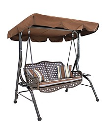 2-Seater Outdoor Rattan Patio Swing with Adjustable Tilt Canopy Striped 2 Pillows