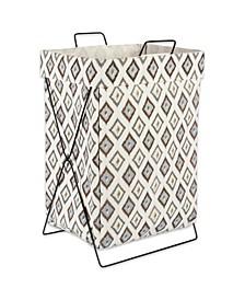 Diamond Ikat Metal Frame Laundry Basket