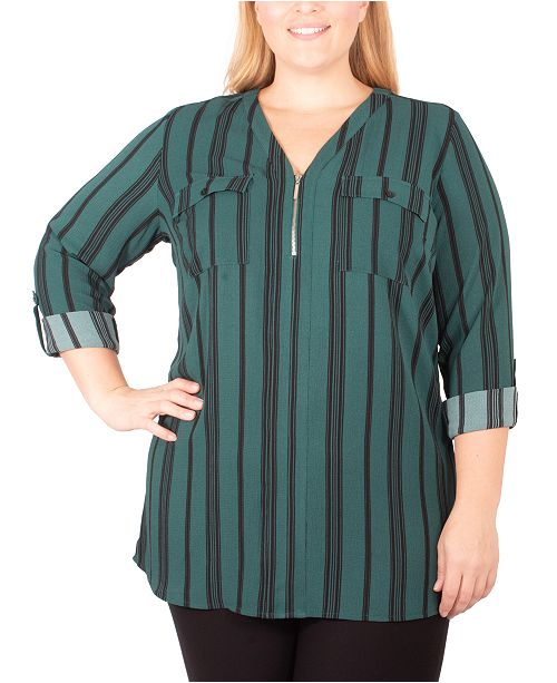 NY Collection Plus Size Striped Zippered Top