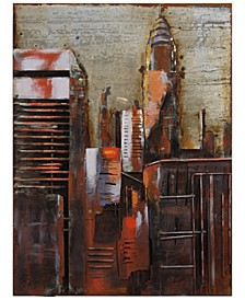 """The Chrysler Building Mixed Media Iron Hand Painted Dimensional Wall Art, 40"""" x 30"""" x 3.2"""""""