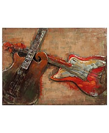 """Acustica Mixed Media Iron Hand Painted Dimensional Wall Art, 30"""" x 40"""" x 3.2"""""""