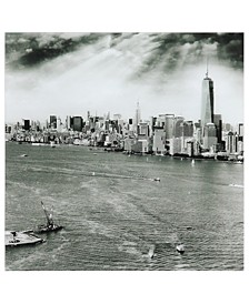 "New York Skyline B Frameless Free Floating Tempered Glass Panel Graphic Wall Art, 36"" x 36"" x 0.2"""