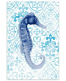 """Marine Morocco I Frameless Free Floating Tempered Art Glass Sea Horse Wall Art by EAD Art Coop, 48"""" x 32"""" x 0.2"""""""