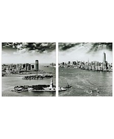 """New York Skyline A B Frameless Free Floating Tempered Glass Panel Graphic Wall Art, 36"""" x 36"""" x 0.2"""""""