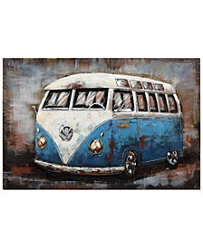 "Blue bus Mixed Media Iron Hand Painted Dimensional Wall Art, 32"" x 48"" x 2.4"""