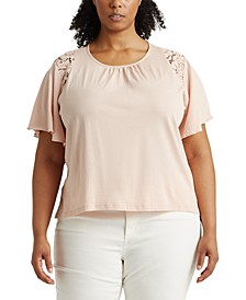 Plus-Size Lace-Trim Cotton Jersey Top