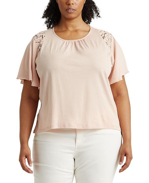 Lauren Ralph Lauren Plus-Size Lace-Trim Cotton Jersey Top