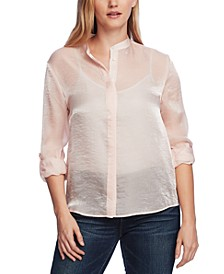 Women's Long Sleeve Roll Tab Sparkle Organza Shirt