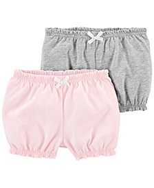 Baby Girls 2-Pk. Cotton Pull-On Bubble Shorts