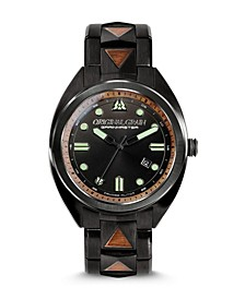 Men's Grainmaster Burled Walnut with Black Stainless Steel Bracelet Watch 45mm