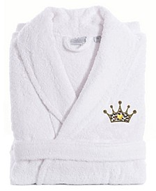 Embroidered with Cheetah Crown Terry Bath Robe