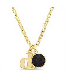 "Women's Gold-Tone Black Rhinestone ""D"" Initial Necklace"