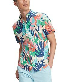 Men's Custom-Fit Tropical Leaf Print Short Sleeve Shirt