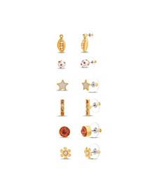 Rainbow Rhinestone 6 Pair Stud Earring Set