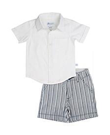 Toddler Boys Short Sleeve Shirt and Stripe Shorts Set