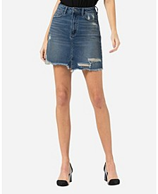 Distressed Raw Hem Mini Skirt