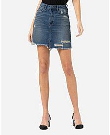 VERVET Distressed Raw Hem Mini Skirt