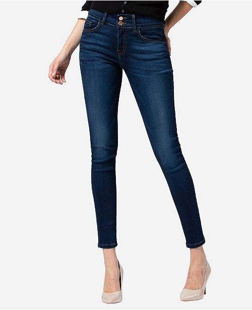 FLYING MONKEY Mid Rise Double Button Super Soft Skinny Ankle Jeans