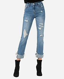 High Rise Uneven Fray Cuffed Hem Straight Crop Jeans